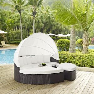 Convene Canopy Outdoor Patio Daybed in Espresso White