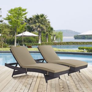 Convene Chaise Outdoor Patio Set of 2 in Espresso Mocha