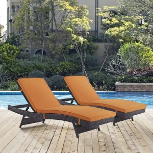 Convene Chaise Outdoor Patio Set of 2 in Espresso Orange