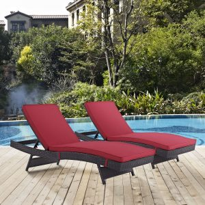 Convene Chaise Outdoor Patio Set of 2 in Espresso Red