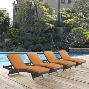 Convene Chaise Outdoor Patio Set of 4 in Espresso Orange