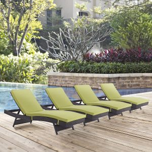 Convene Chaise Outdoor Patio Set of 4 in Espresso Peridot