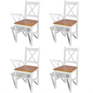 Dining Chairs Wood White And Natural Colour 4 Pcs