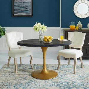 "Drive 47"" Oval Wood Top Dining Table in Black Gold"