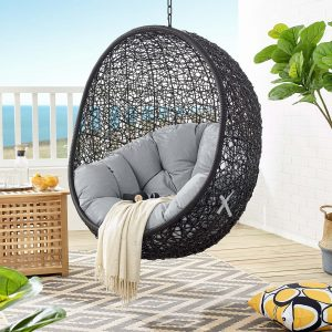 Encase Sunbrella® Fabric Swing Outdoor Patio Lounge Chair Without Stand in Black Gray