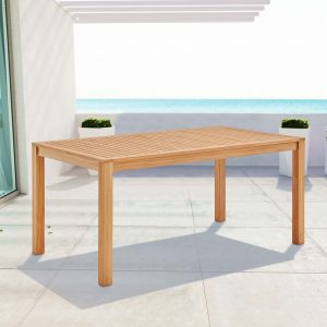"Farmstay 63"" Rectangle Outdoor Patio Teak Wood Dining Table in Natural"