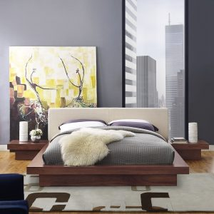 Freja 3 Piece Queen Fabric Bedroom Set in Walnut Beige