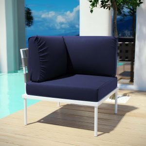 Harmony Outdoor Patio Aluminum Corner Sofa in White Navy