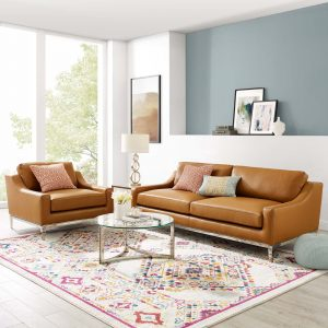 Harness Stainless Steel Base Leather Sofa & Armchair Set in Tan