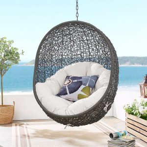 Hide Sunbrella® Fabric Swing Outdoor Patio Lounge Chair Without Stand in Gray White