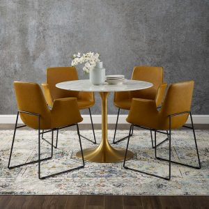 "Lippa 40"" Round Artificial Marble Dining Table in Gold White"