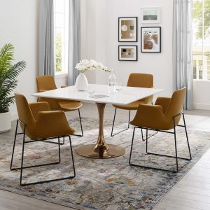 "Lippa 47"" Square Wood Top Dining Table in Rose White"