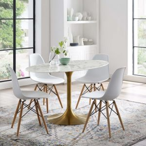 "Lippa 54"" Oval Artificial Marble Dining Table in Gold White"