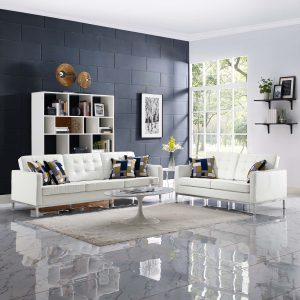 Loft 2 Piece Leather Sofa and Loveseat Set in Cream White