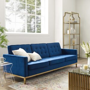 Loft Gold Stainless Steel Leg Performance Velvet Sofa in Gold Navy