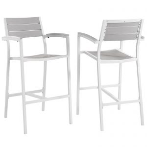 Maine Bar Stool Outdoor Patio Set of 2 in White Light Gray