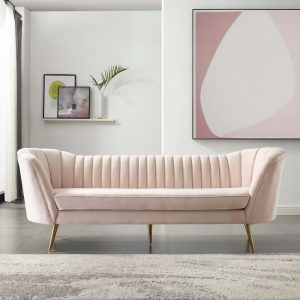 Opportunity Vertical Channel Tufted Curved Performance Velvet Sofa in Pink