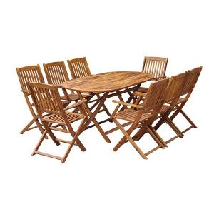 Outdoor Dining Set 9 Pieces Solid Acacia Wood