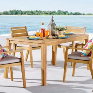 "Portsmouth 63"" Karri Wood Outdoor Patio Dining Table in Natural"