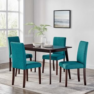 Prosper 5 Piece Upholstered Fabric Dining Set in Cappuccino Teal