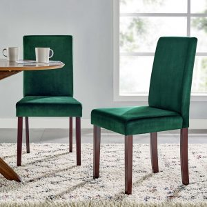 Prosper Upholstered Velvet Dining Side Chair Set of 2 in Green