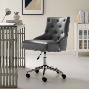 Regent Tufted Button Swivel Faux Leather Office Chair in Gray
