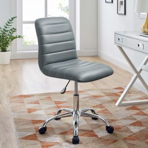 Ripple Armless Mid Back Vinyl Office Chair in Gray