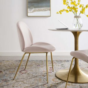 Scoop Gold Stainless Steel Leg Performance Velvet Dining Chair in Pink