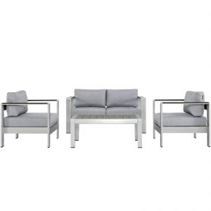 Shore 4 Piece Outdoor Patio Aluminum Sectional Sofa Set in Silver Gray