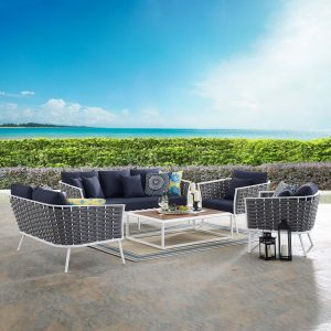 Stance 5 Piece Outdoor Patio Aluminum Sectional Sofa Set in White Navy