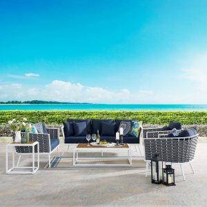 Stance 7 Piece Outdoor Patio Aluminum Sectional Sofa Set in White Navy