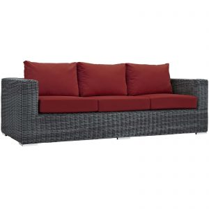 Summon Outdoor Patio Sunbrella® Sofa in Canvas Red