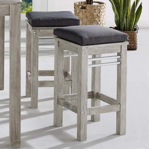 Wiscasset Outdoor Patio Acacia Wood Bar Stool Set of 2 in Light Gray