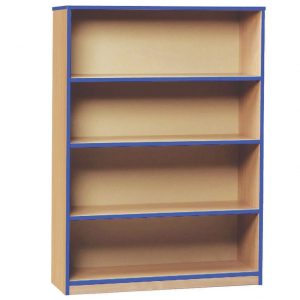 3 Shelf Coloured Edge Bookcase, Beech/Blue, Free Standard Delivery