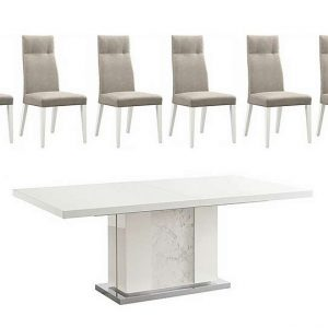 ALF - Fascino Large Extending Dining Table and 6 Faux Leather Dining Chairs - White