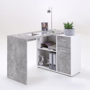 Albrecht Wooden Computer Desk In Concrete And White