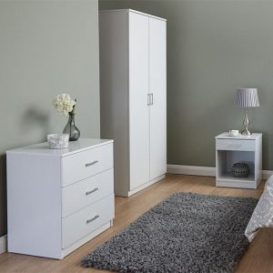 Almandite Wooden 3Pc Bedroom Furniture Set In White