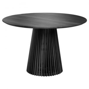 Amrit Mindi Wood Round Dining Table, 120cm, Black