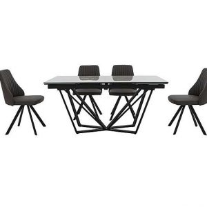 Aquila Extending Dining Table and 4 Swivel Dining Chairs - Grey