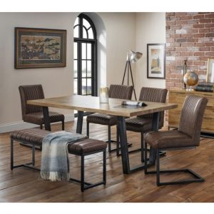 Brooklyn Dining Set With Upholstered Bench And 4 Brown Chairs