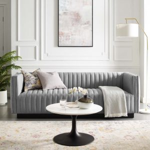 Conjure Tufted Upholstered Fabric Sofa in Light Gray