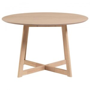 Hanley Wooden Drop Leaf Round Dining Table, 120cm, Latte