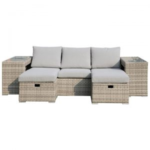 Minot 5 Piece Wicker Outdoor Lounge Set, 3 Seater, Natural