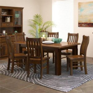 Mulford 7 Piece Pine Timber Dining Table Set, 180cm