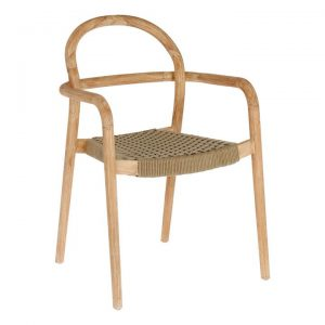 Petone Eucalyptus Timber Dining Chair, Natural / Beige