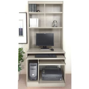 Small Office Computer Workstation With Hutch Bookcase (Grey Nebraska), Free Standard Delivery