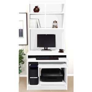 Small Office Computer Workstation With Hutch Bookcase (White), Free Standard Delivery
