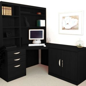 Small Office Corner Desk Set With 3 Drawers, Cupboard & Hutch Bookcases (Black Havana), Free Standard Delivery