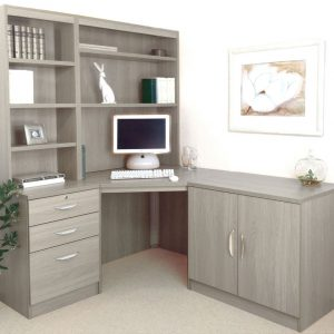 Small Office Corner Desk Set With 3 Drawers, Cupboard & Hutch Bookcases (Grey Nebraska), Free Standard Delivery