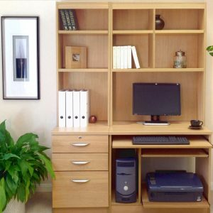 Small Office Desk Set With 3 Drawers, Computer Workstation & Hutch Bookcases, Classic Oak, Free Standard Delivery